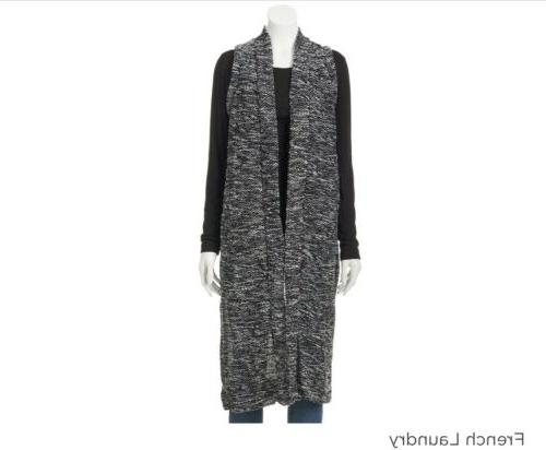 French Laundry Marled Duster Cardigan Loose Knit Vest Sleeve