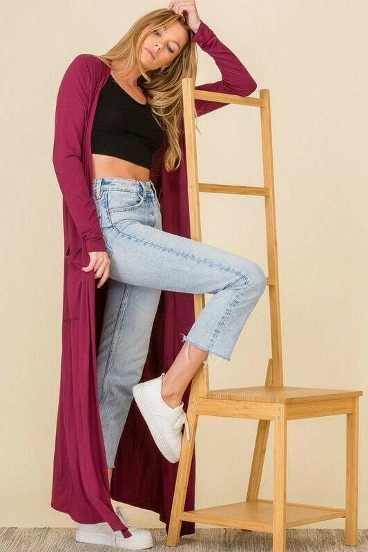 Premium Jersey Knit Cardigan Maxi Full Length Long Open
