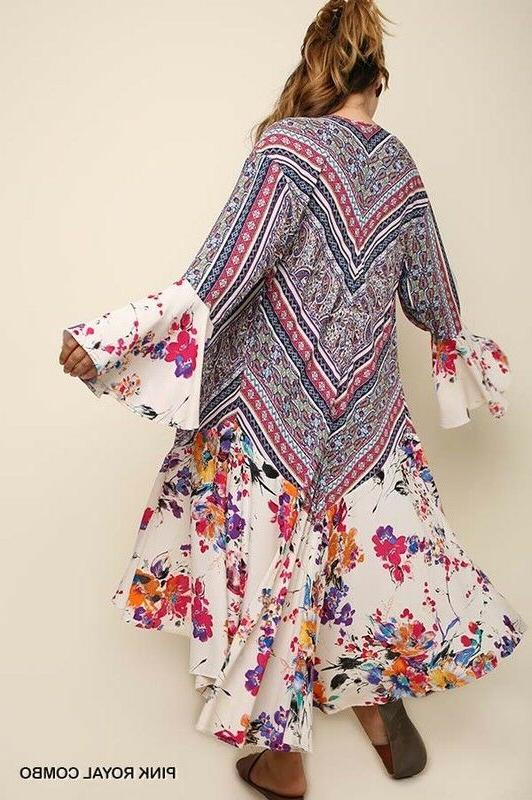 UMGEE Maxi Kimono Duster Open Bell Sleeve Flowy Long Jacket