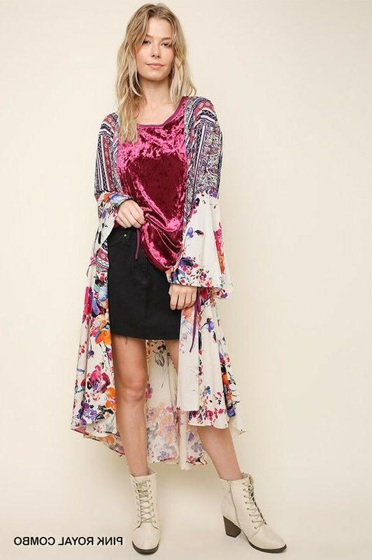 UMGEE Kimono Duster Open Front Bell Jacket