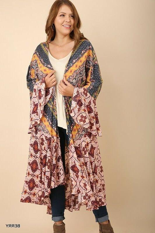 UMGEE Maxi Cardigan Duster Open Front Bell Flowy