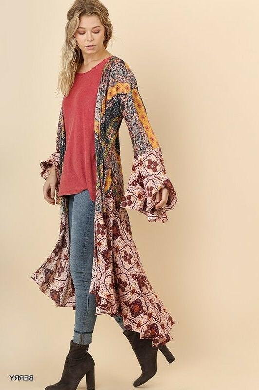 UMGEE Maxi Cardigan Duster Open Bell Jacket