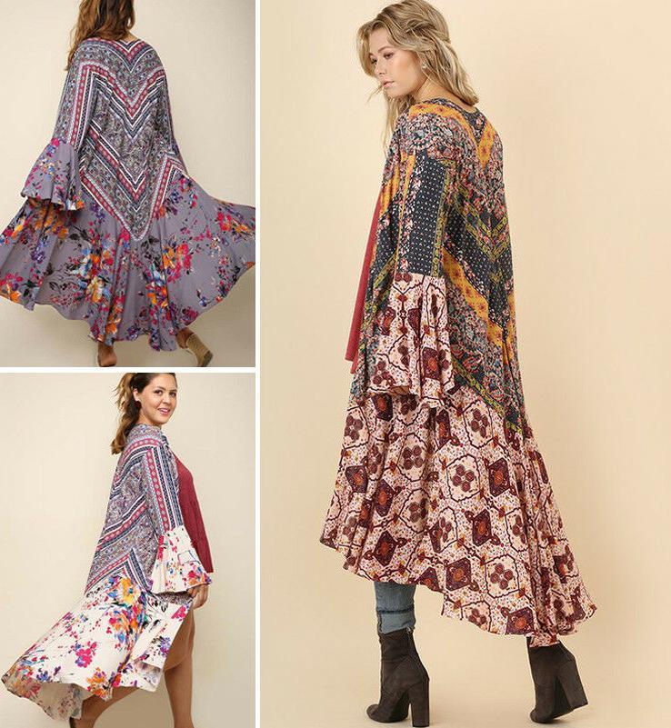 s 2x long kimono cardigan duster open