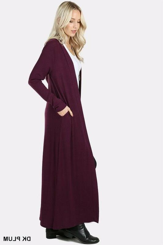 Women's Duster Long Front Solid Colors
