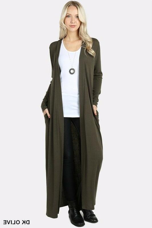 Women's Maxi Cardigan Duster Front Solid Knit
