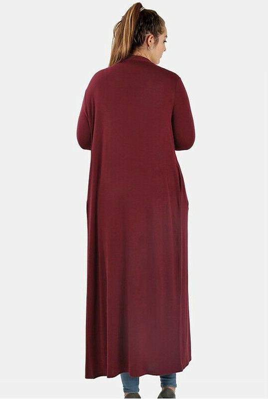 Women's Maxi Sweater Duster Front Solid Colors