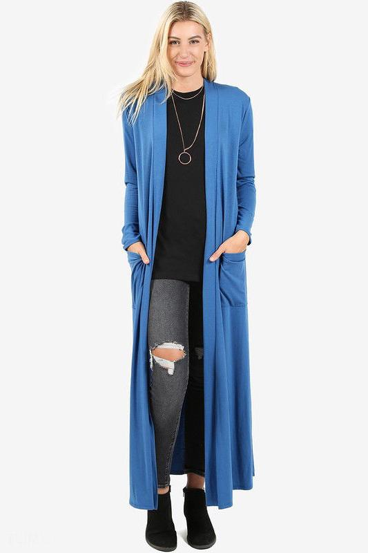 Women's Full Length Maxi Cardigan Duster Open