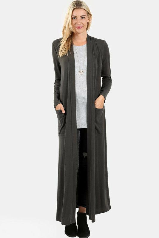 S-3X Women's Loose Cardigan Sweater Open