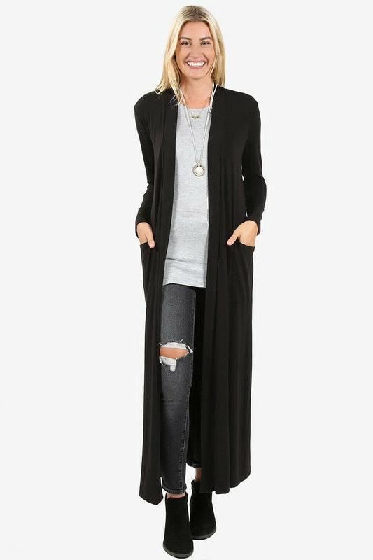 S-3X Maxi Cardigan Sweater Duster Open