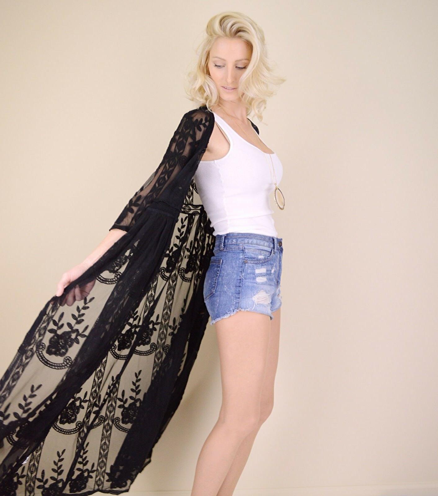 Women's Embroidered Sheer Kimono Duster Cardigan Maxi