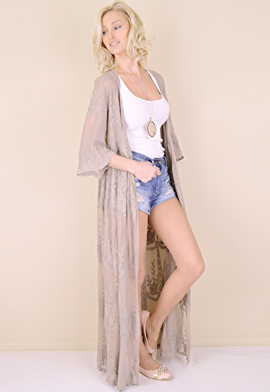 Women's Embroidered Kimono Sleeve Long Duster Cardigan