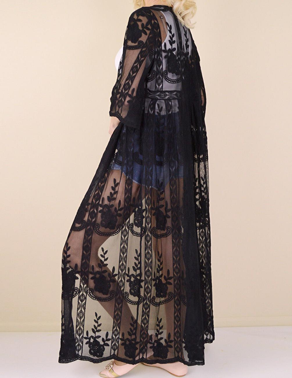 Women's Embroidered Sheer Lace Kimono Sleeve Long Duster Cardigan Maxi