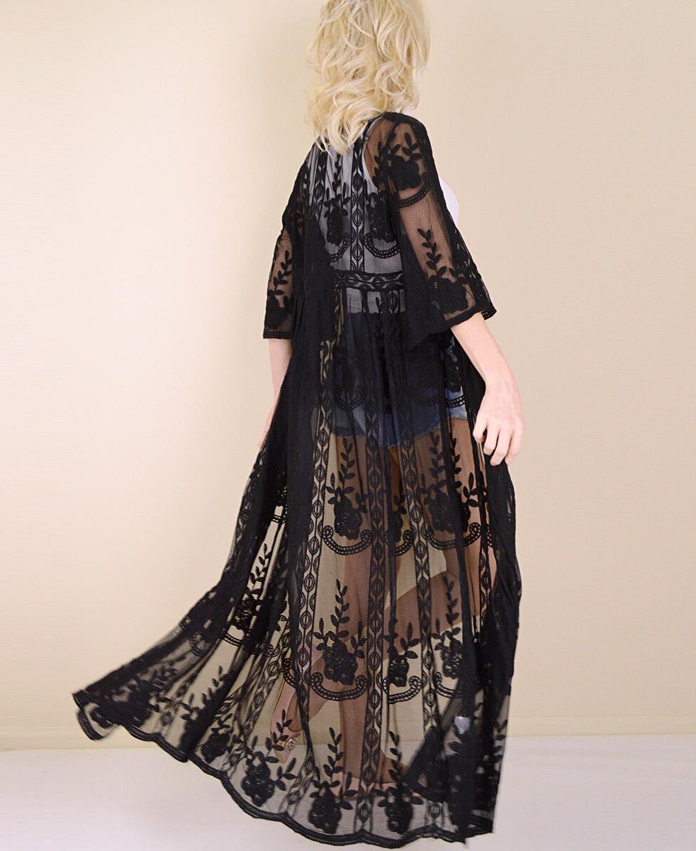 Women's Embroidered Sheer Kimono Sleeve Long Duster Cardigan Maxi