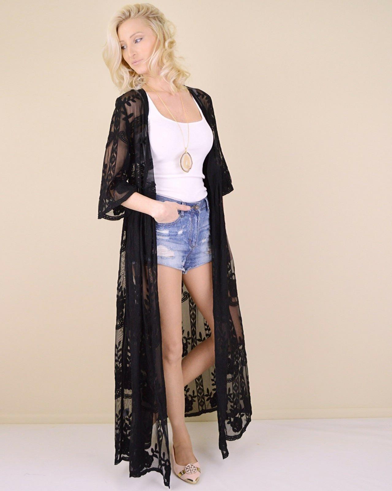 Women's Sheer Kimono Cardigan Maxi