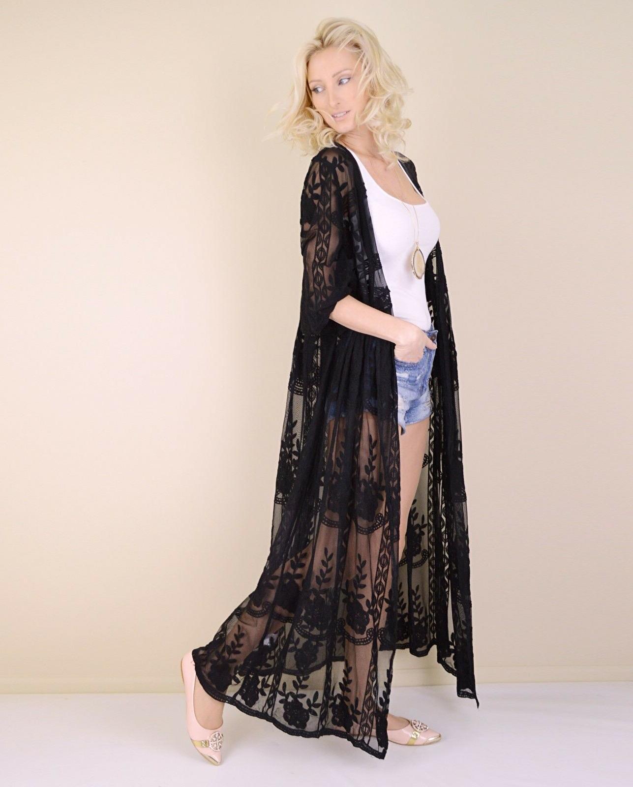 Women's Embroidered Kimono Sleeve Duster Cardigan Maxi