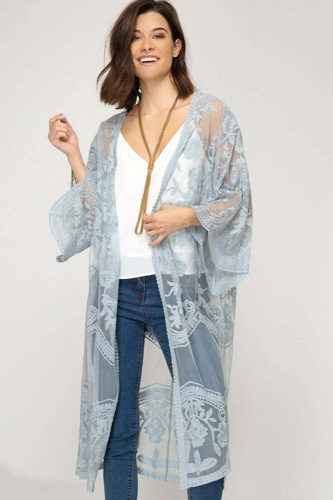 She Sky Lace Open Front Cardigan Duster