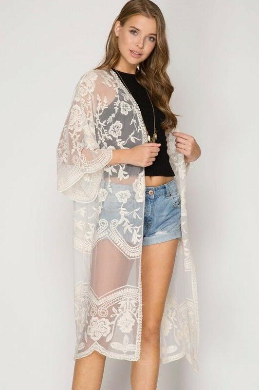 She & Sky Lace Front Jacket Duster