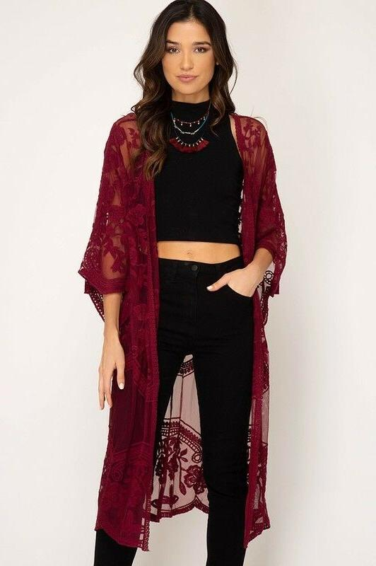 She Lace Kimono Sleeve Open Front Cardigan Duster