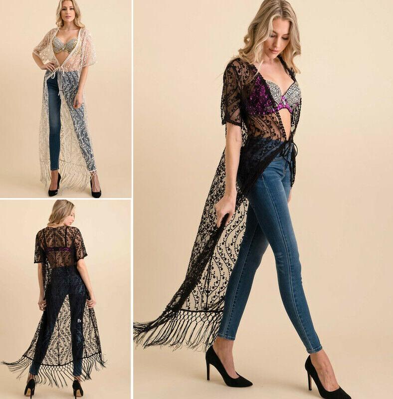 sheer embroidered lace kimono maxi duster cardigan
