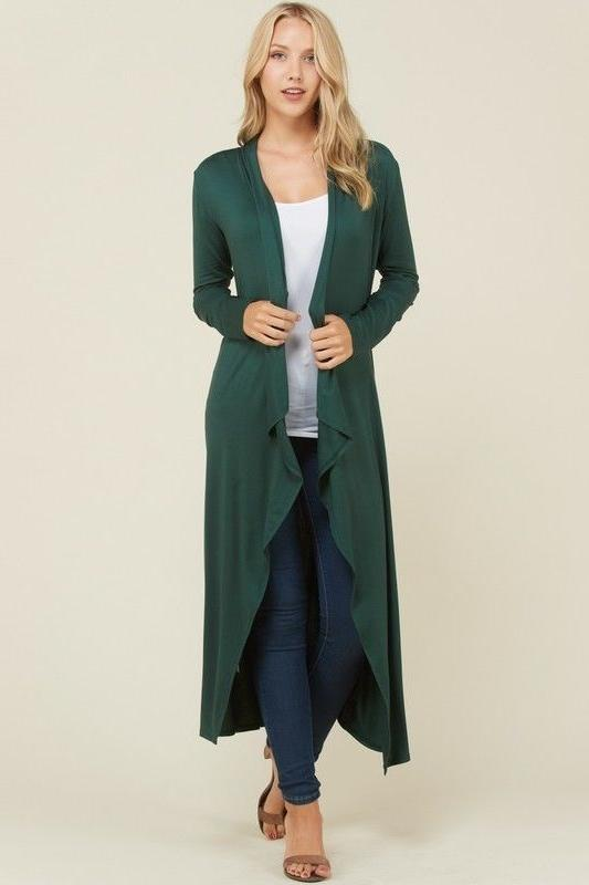 Women's Maxi Duster Casual Open Solid Plain