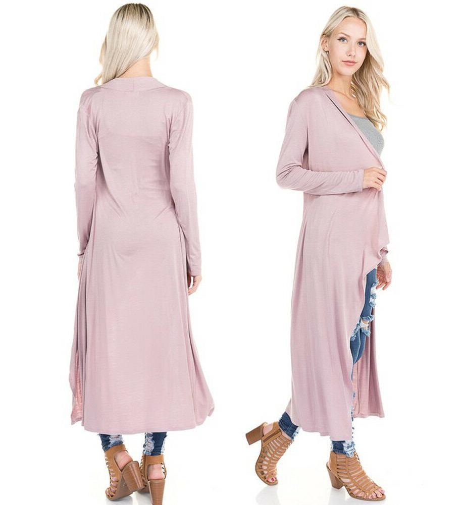 Women's Soft Maxi Duster Cardigan Plain