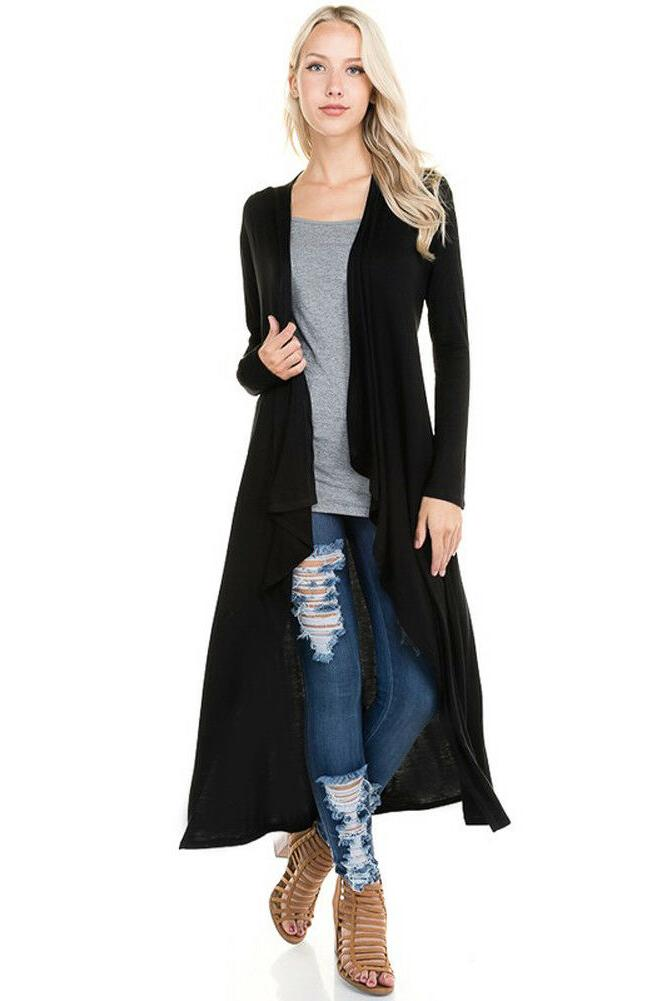 Women's Knit Duster Cardigan Casual Open Front Solid Plain