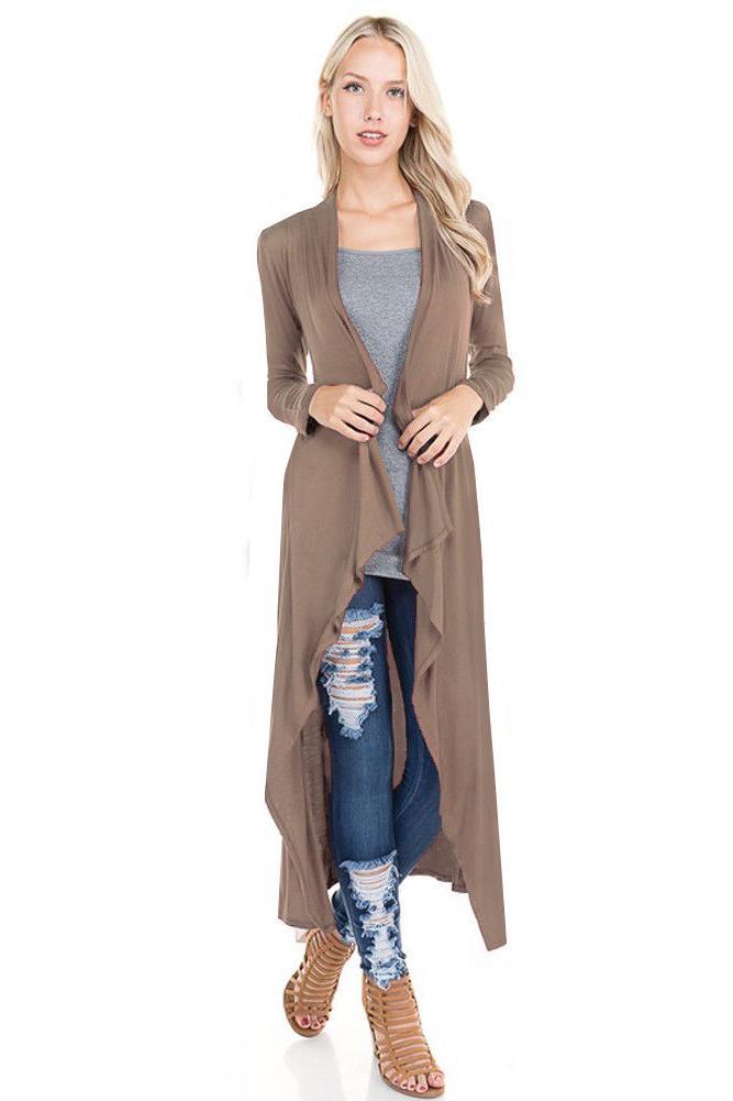 Women's Soft Knit Maxi Casual Front Plain