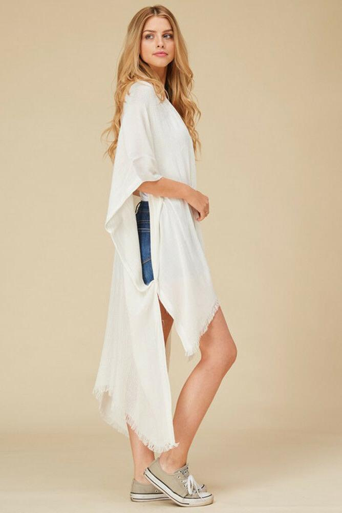 Women's Solid Long Duster Fringe Front Wrap OS