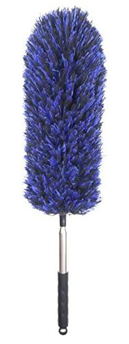 FO&OSOBEIT Straight Feather Duster Telescopic Pole Microfibe
