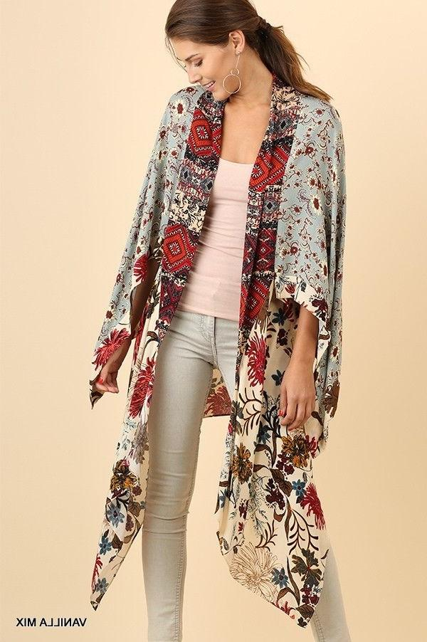 umgee mixed floral patchwork print kimono duster