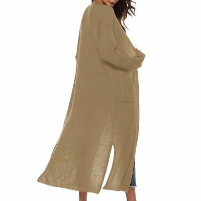USA Maxi Cardigan Front Sweater Sleeve Coat