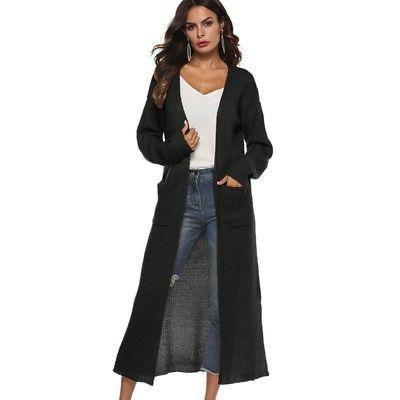 USA Full Maxi Cardigan Open Front Sweater Coat