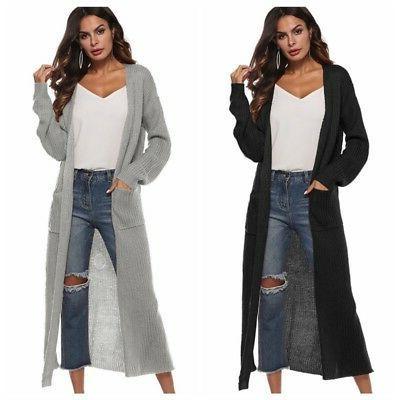 USA Women's Full Maxi Duster Front Sleeve Coat