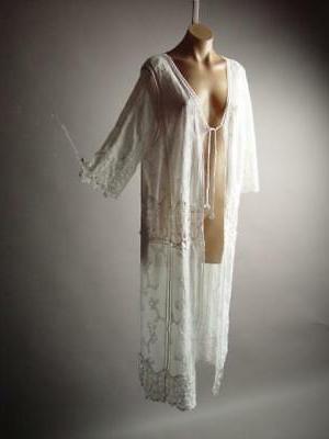 White Crochet Long Caftan Up Duster Jacket