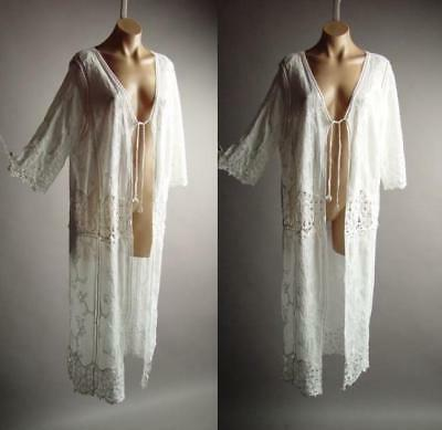 white embroider crochet bohemian long maxi caftan