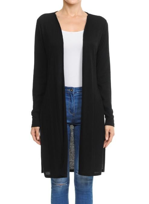 WOMAN DUSTER CARDIGAN WITH SIDE SLIT DETAILPlus