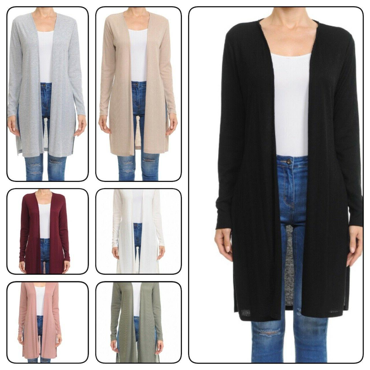 woman long sleeve duster cardigan with side