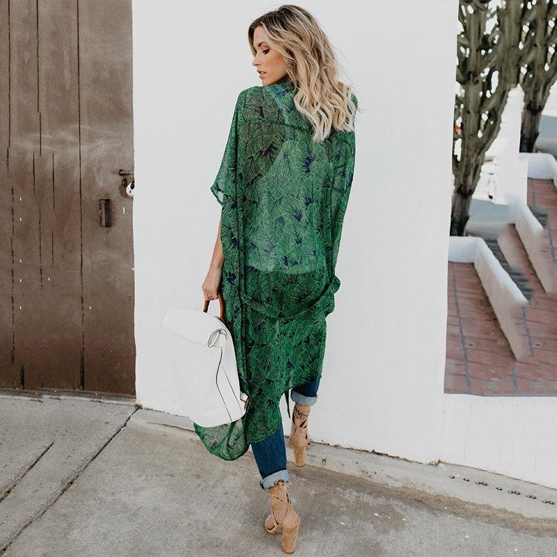Womens Kimono Duster Long Boho Blouse