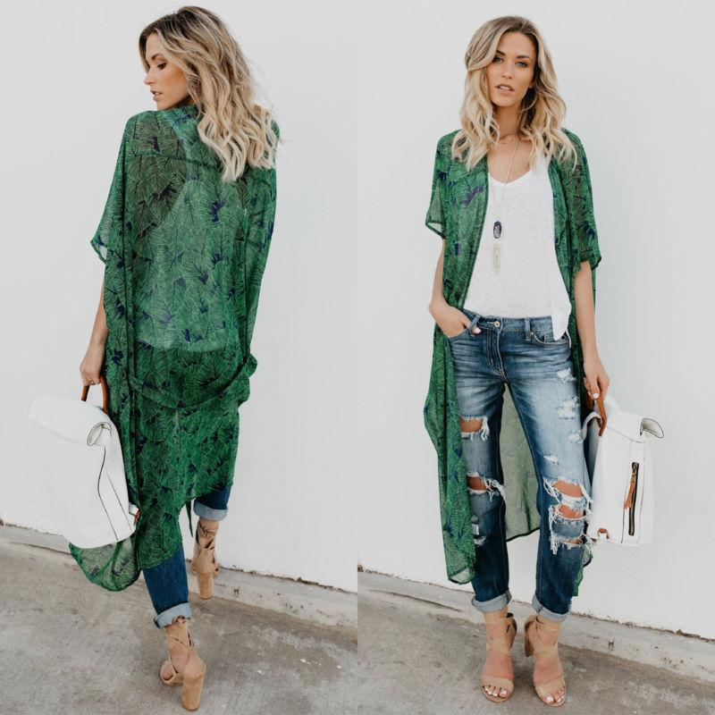Women Floral Kimono Cardigan Duster Long Wrap Shawl Boho Gyp