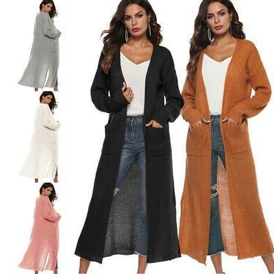 Women's Full Length Maxi Cardigan Long Sleeve Duster Open Fr