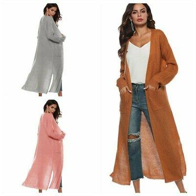 Womens Duster Length Open Long Sleeve US