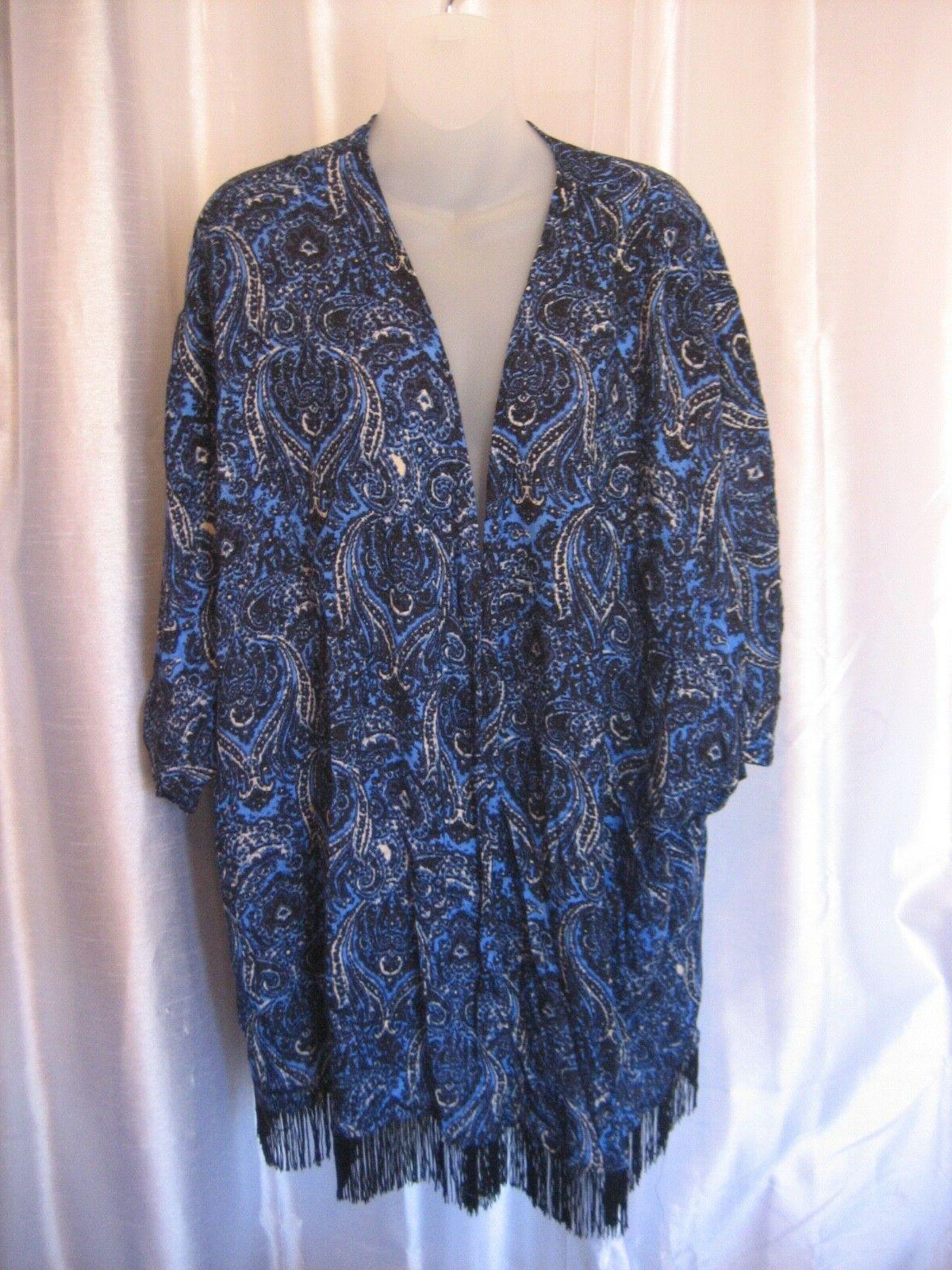 French Laundry Women's Black & Blue Unlined Duster Coat 100%