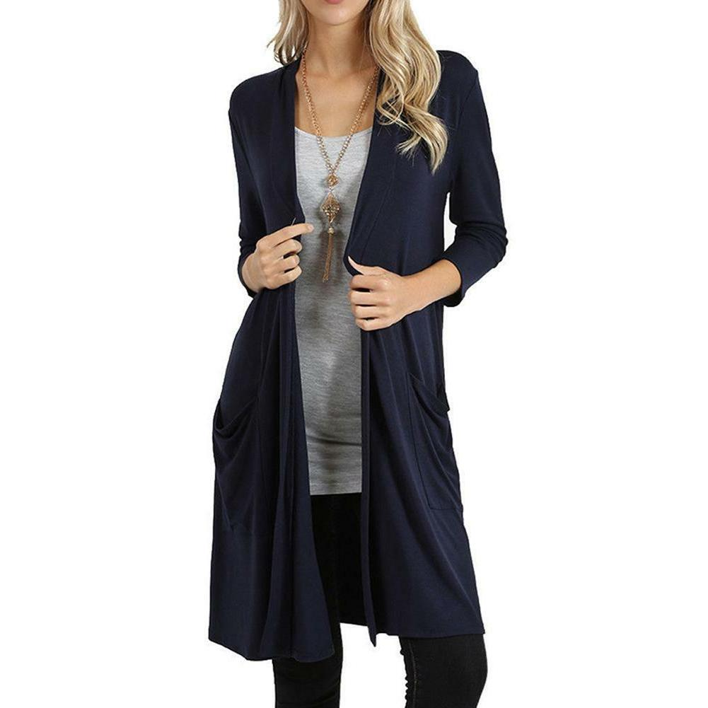 Women's Cardigan Sweater Flyaway Front Long Sleeve Coat