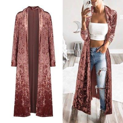 Women's Full Cardigan Duster Front Sweater Long Sleeve Coat Top