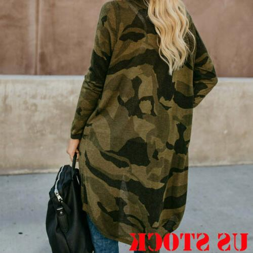 Women's Duster Long Sleeves Open Front Camo Leopard