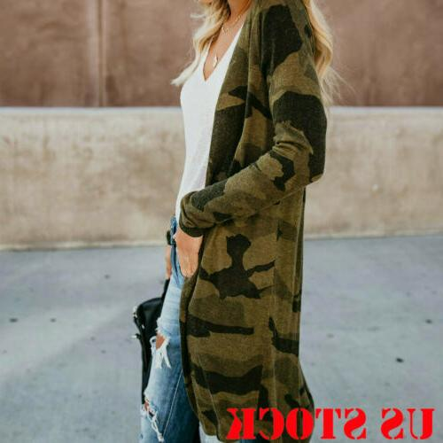 Women's Cardigan Duster Front Camo Leopard