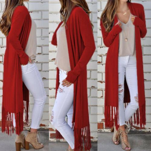 Women's Solid Duster Cardigan Front Boho US