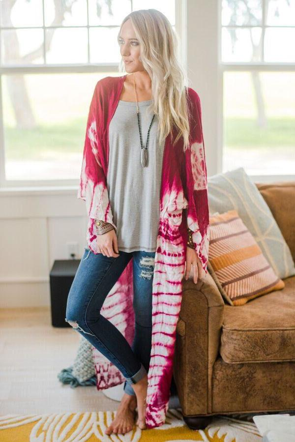 Women's Dye Maxi Cardigan Kimono Beach Up