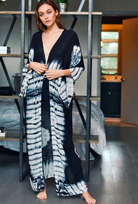 Women's Tie Maxi Duster Cardigan Kimono Up