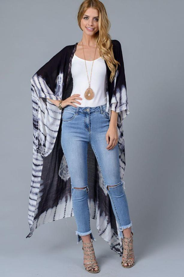 Women's Tie Maxi Kimono Jacket Beach Up